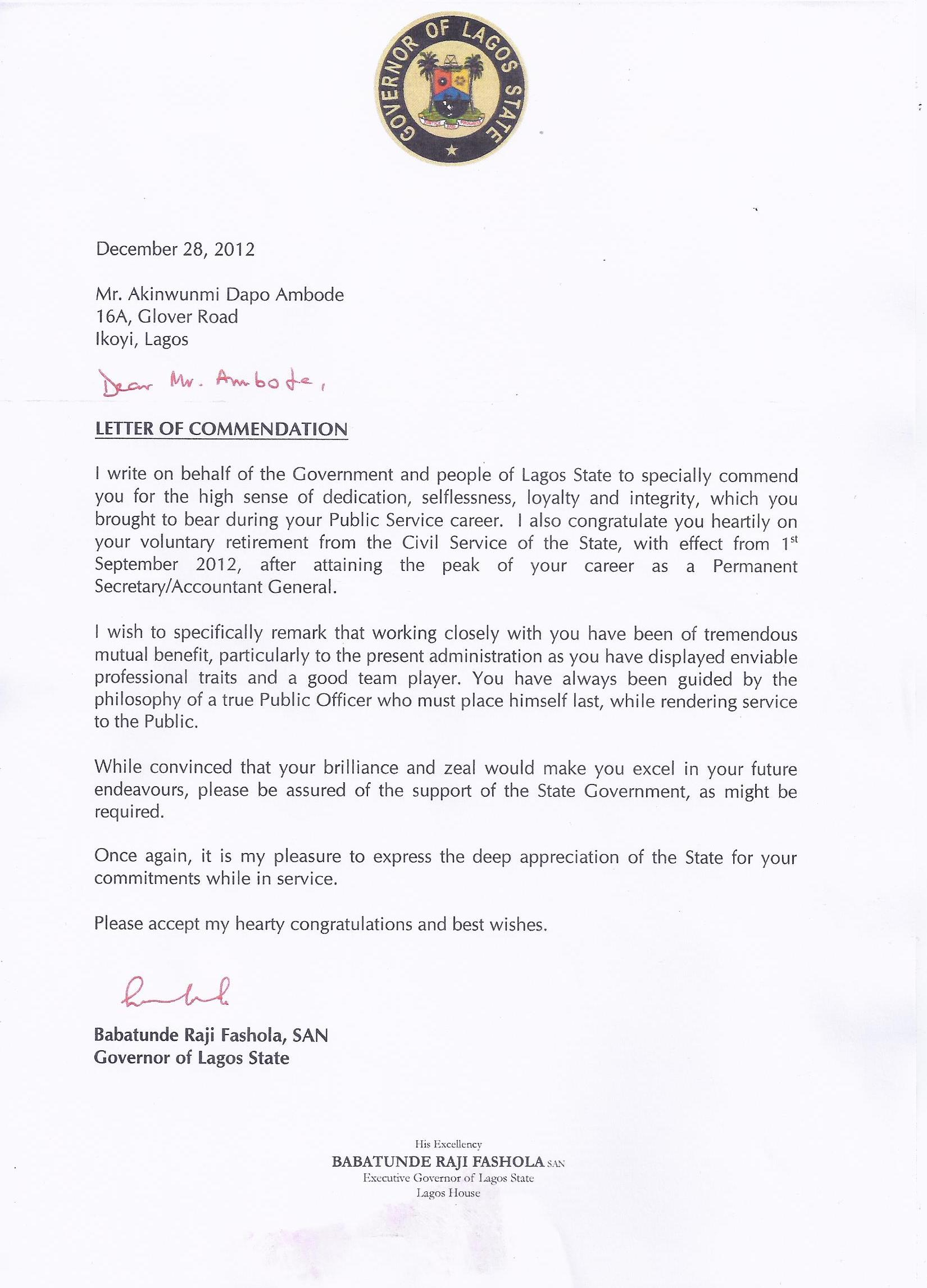 The Letter of Commendation Given to Akinwunmi Ambode Upon His Retirement in 2012