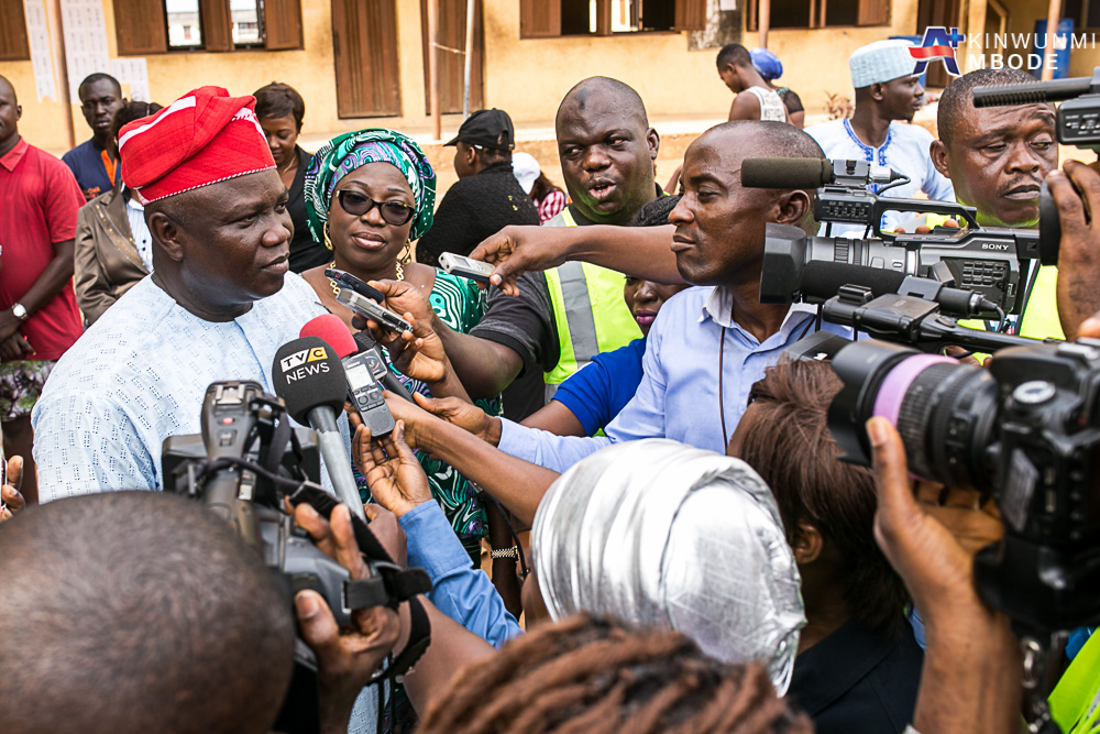 Akinwunmi Ambode being Interviewed by Journalists after his Accreditation