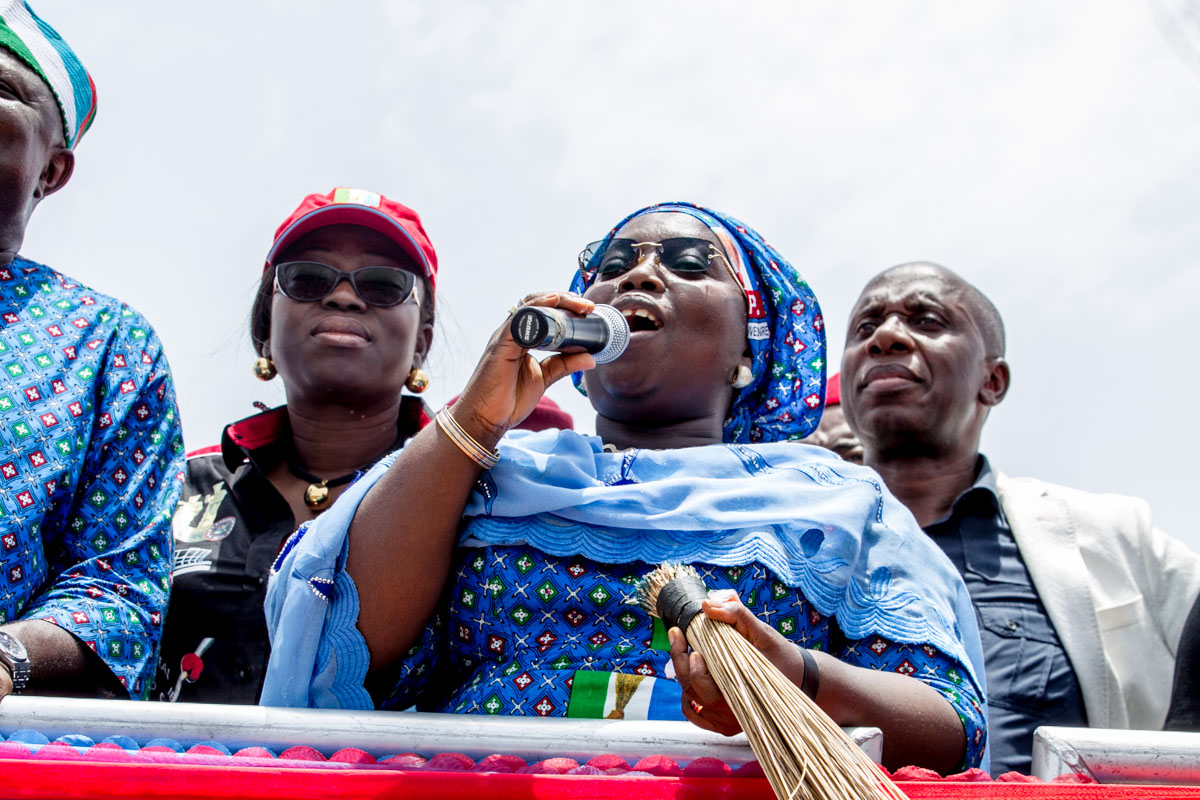 Dr. Idiat Oluranti Adebule talking to Lagos State Electorates at the Event
